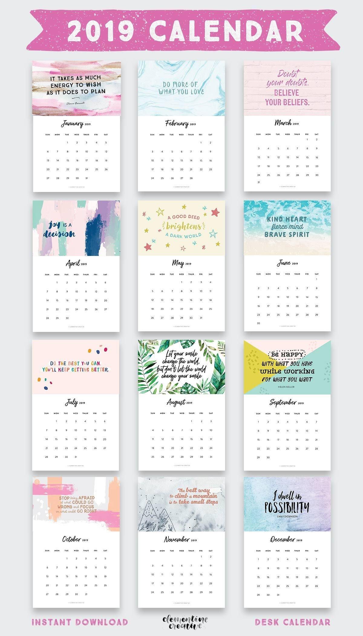 Printable 2019 Inspirational Quotes Calendar | Graphic Design | Desk Calendar 2019 Quotes