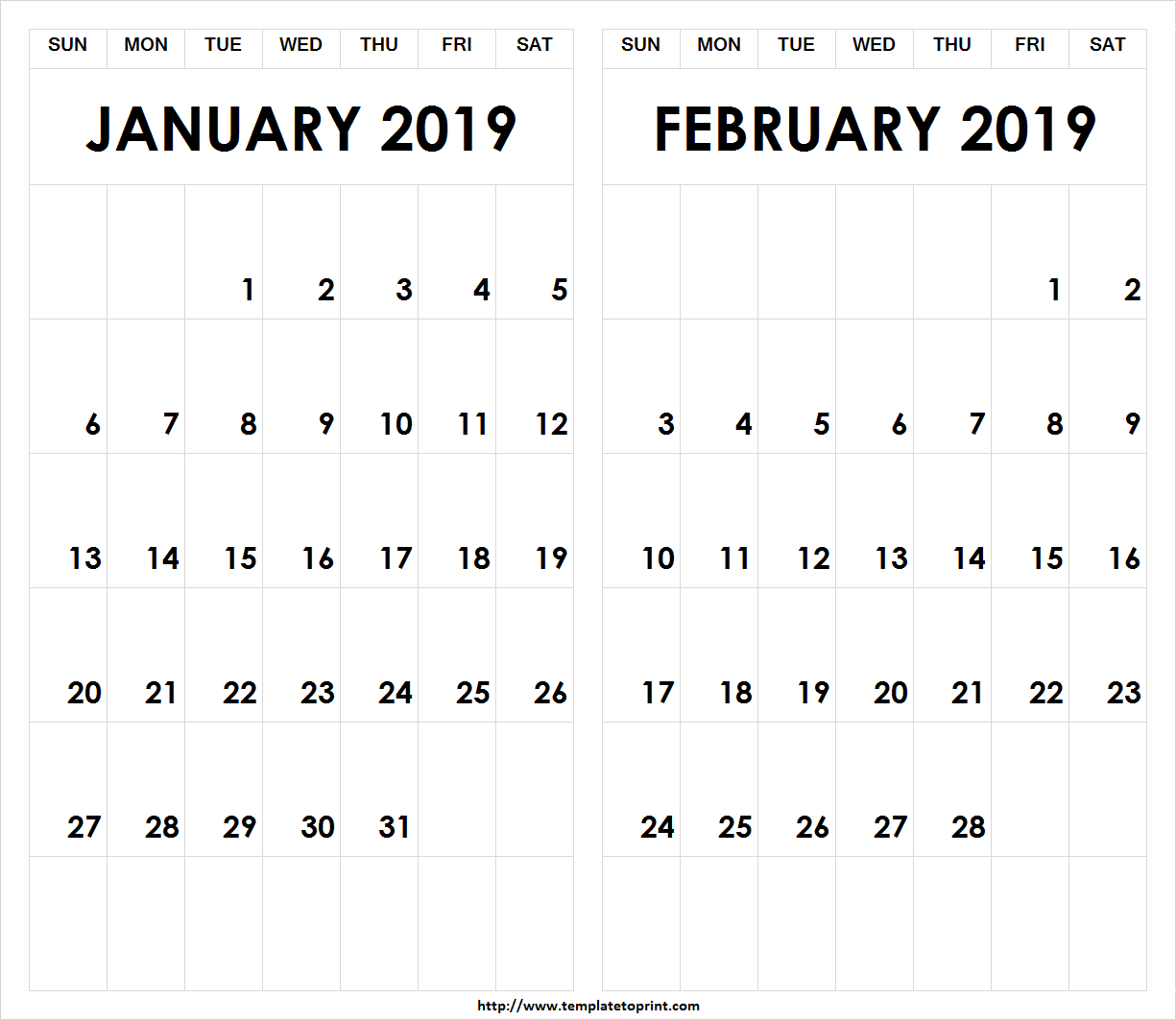 Printable-2019-January-February-Calendar » Template To Print Calendar 2019 Jan Feb
