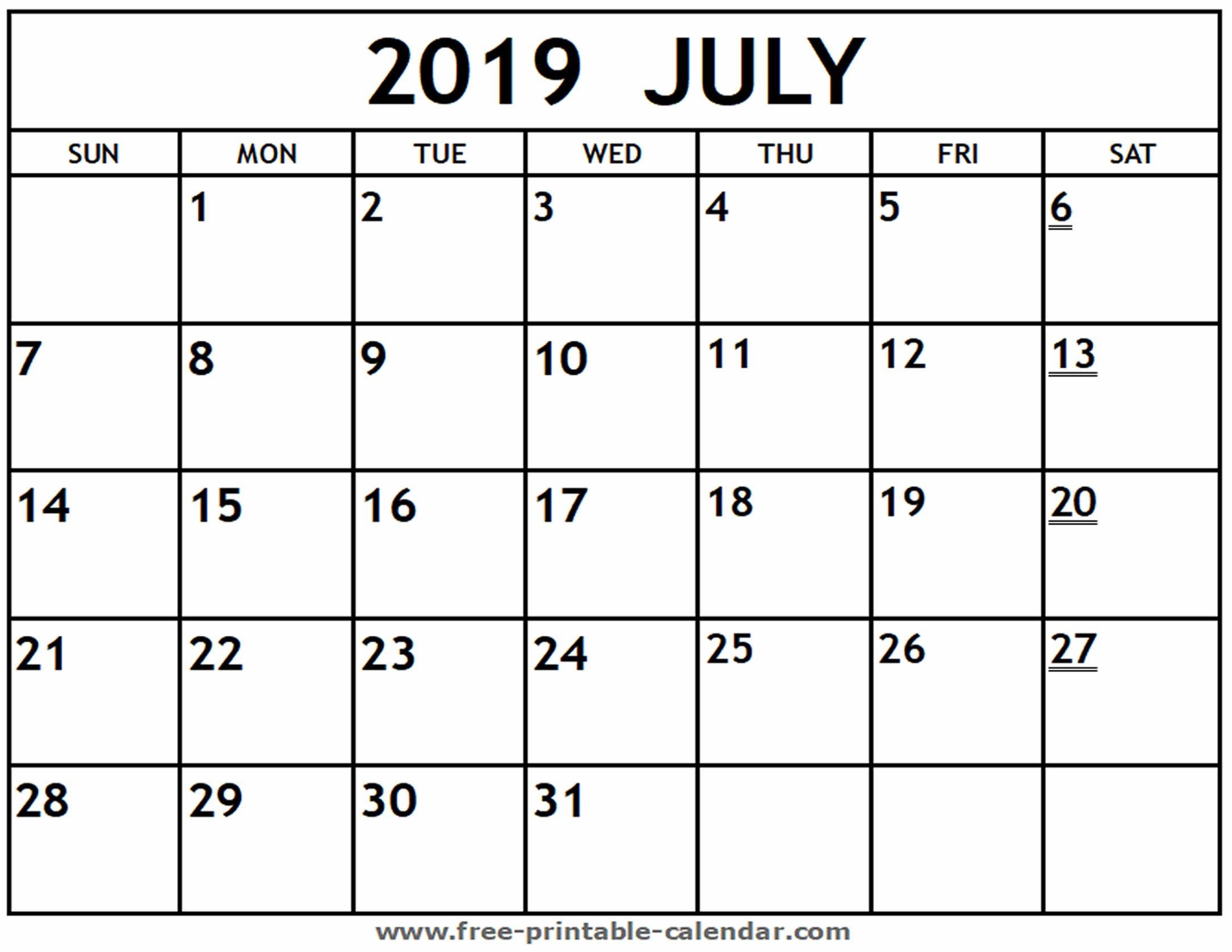 Printable 2019 July Calendar - Free-Printable-Calendar Calendar 2019 July