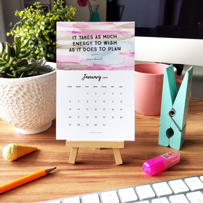 Printable 2019 Motivational Desk Calendar To Inspire You Every Month Calendar 2019 Quotes