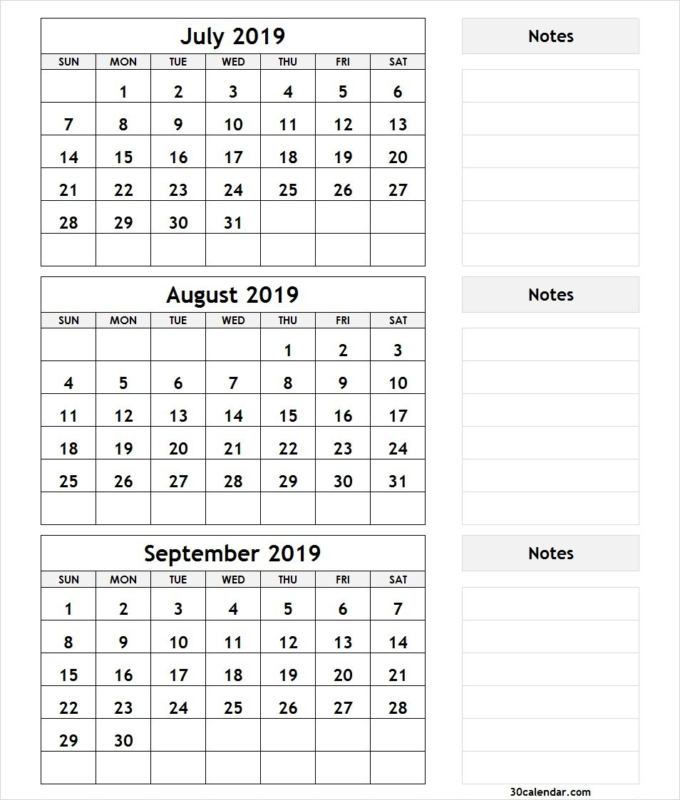 Printable 3 Month Calendar July August September 2018 | Printable July 3 2019 Calendar