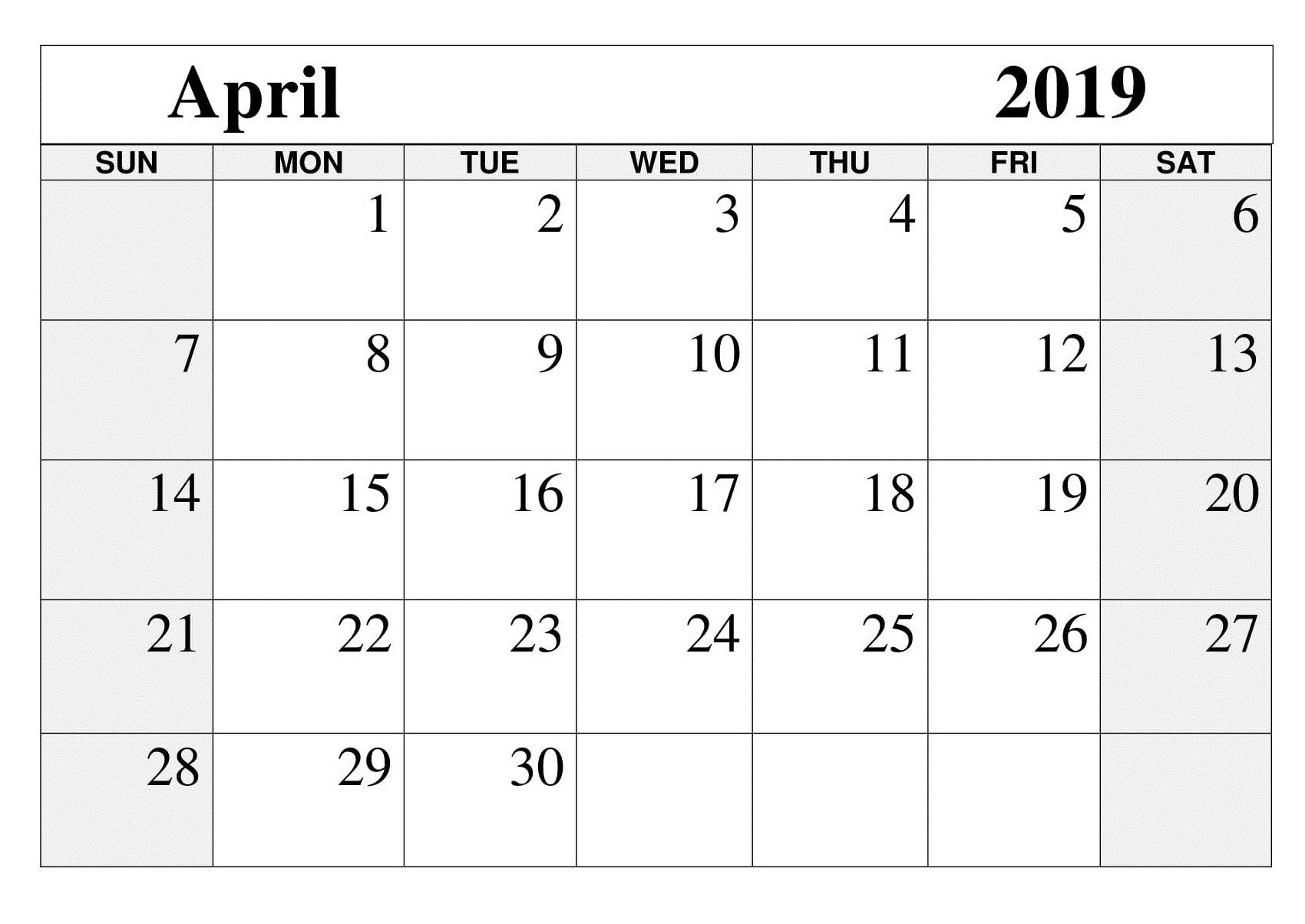 Printable April 2019 Calendar - Free March 2019 Calendar Printable April 5 2019 Calendar