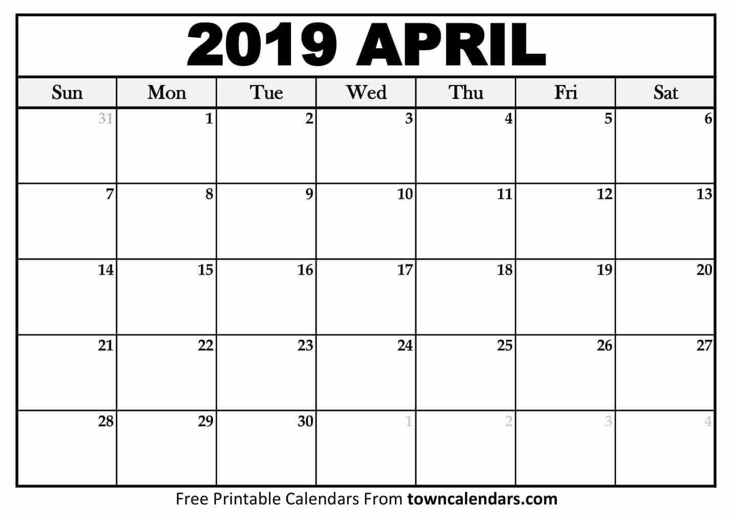 Printable April 2019 Calendar - Towncalendars April 1 2019 Calendar
