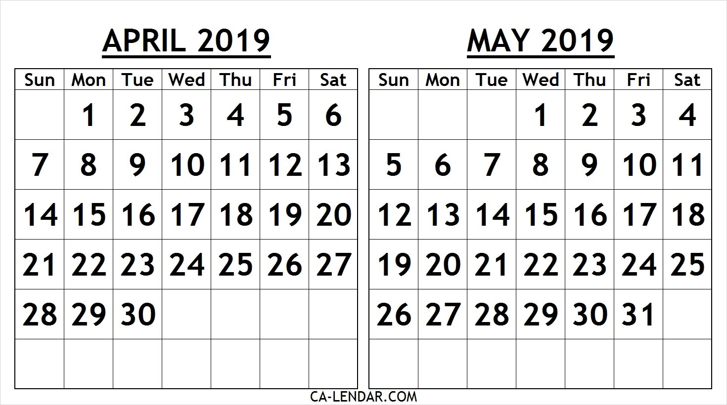 Printable April May 2019 Calendar Template - Free Printable Calendar Calendar 2019 April May