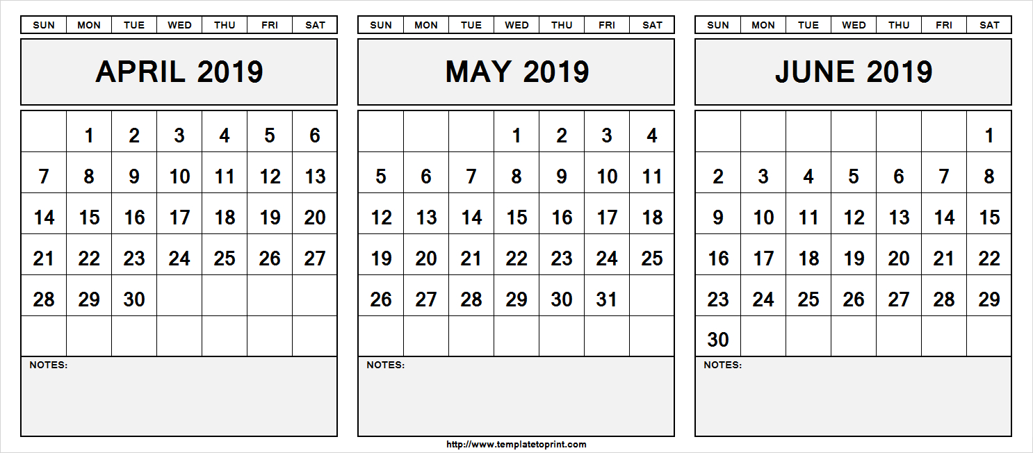Printable April May June 2019 Calendar With Notes #april #may #june June 4 2019 Calendar