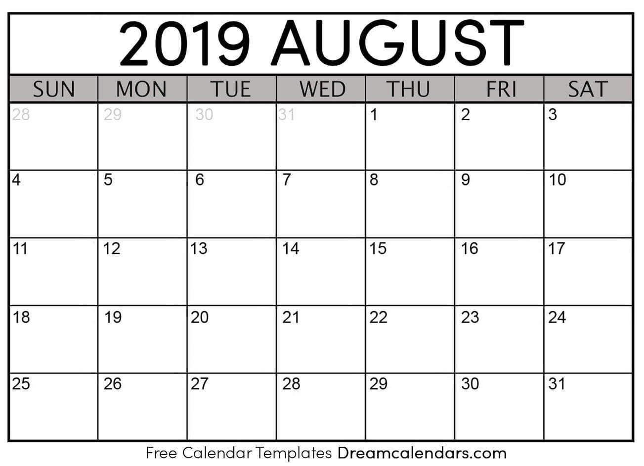 Printable August 2019 Calendar Calendar 2019 August