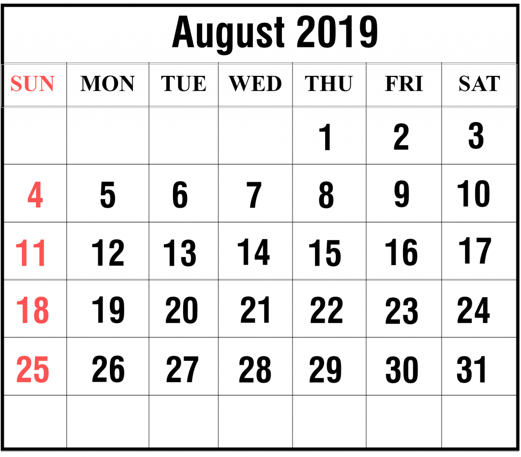 Printable August 2019 Calendar Monthly | Printable Calendar August 3 2019 Calendar