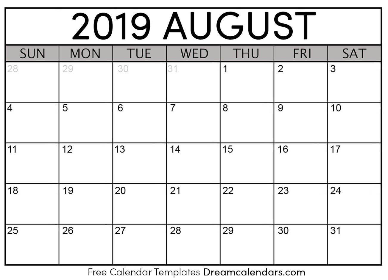 Printable August 2019 Calendar Templates - Helena Orstem - Medium August 1 2019 Calendar