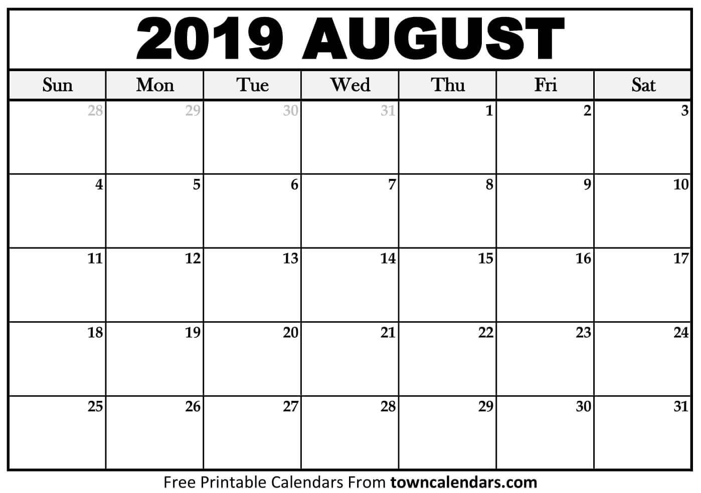 Printable August 2019 Calendar - Towncalendars August 1 2019 Calendar