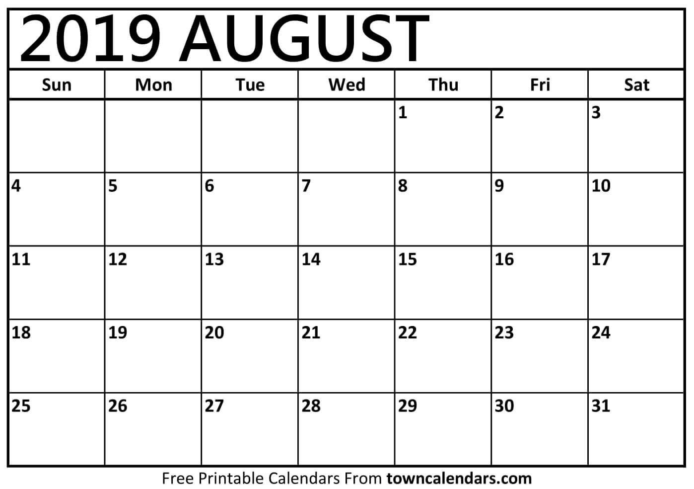 Printable August 2019 Calendar - Towncalendars August 3 2019 Calendar