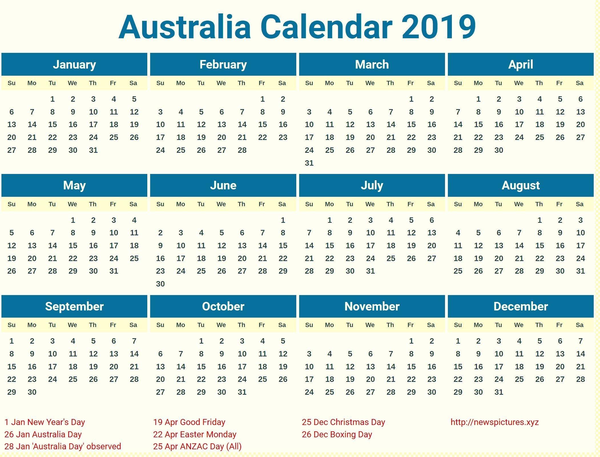 Printable Australia 2019 Holidays Calendar | 2019 Calendars Calendar 2019 Australia