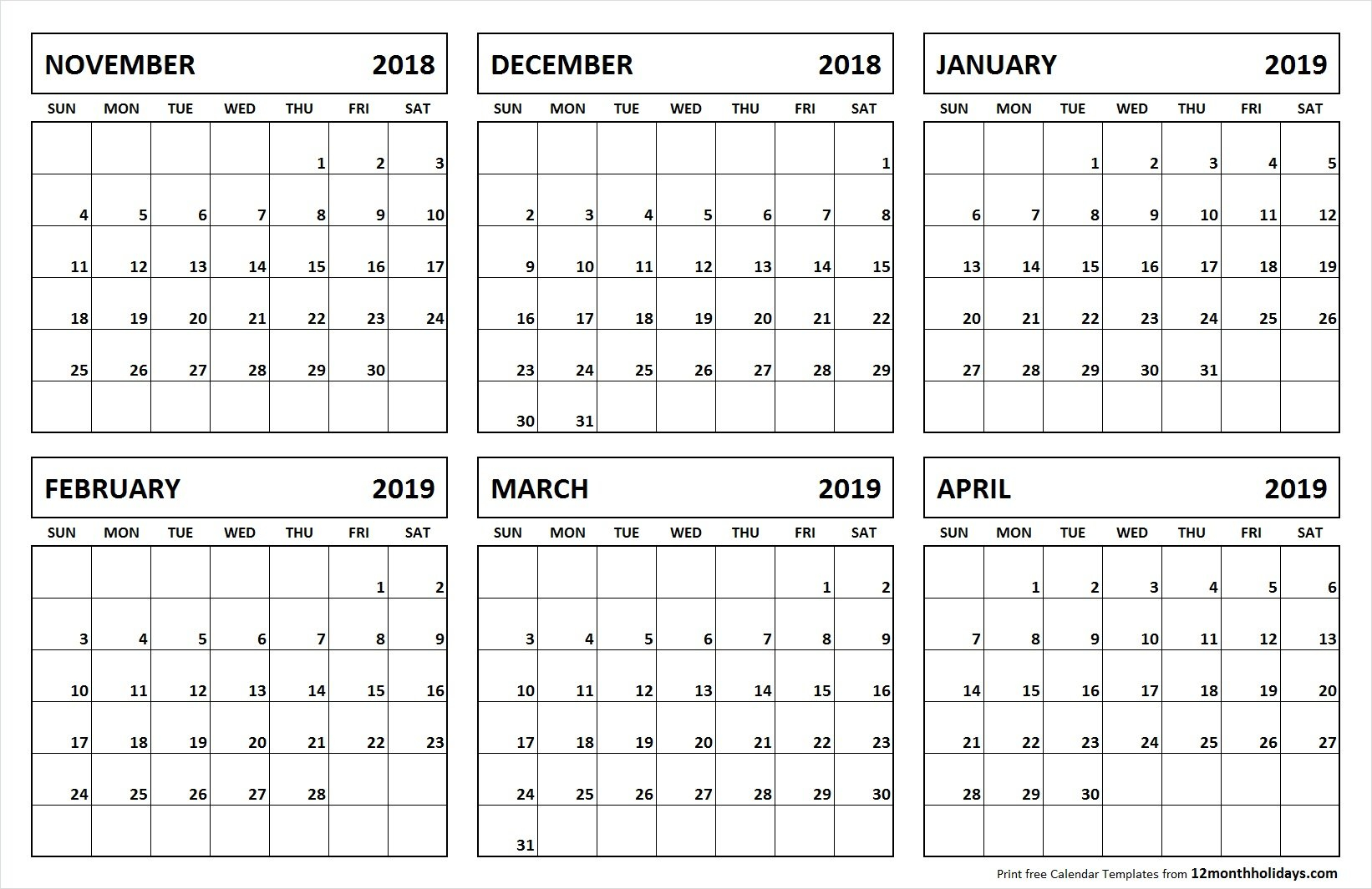 Printable Blank 6 Month Calendar November 2018 April 2019 6 Month Calendar 2019