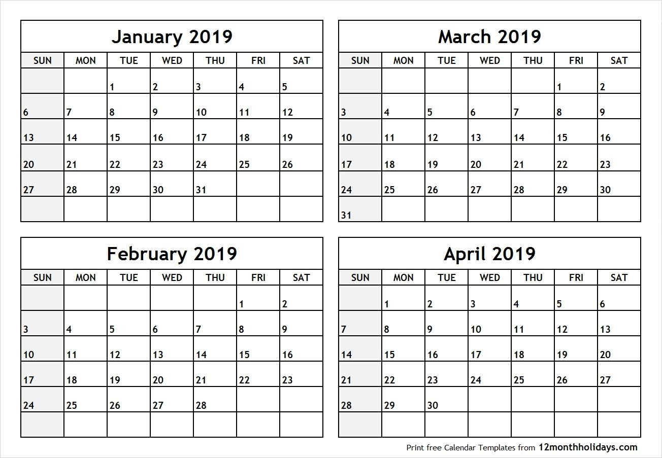 Printable Blank Four Month January February March April 2019 Calendar 2019 March April