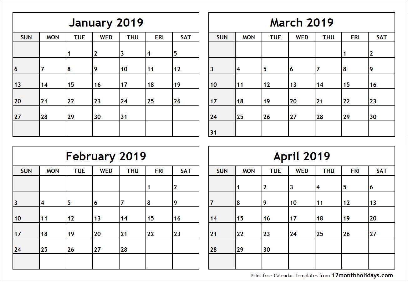 Printable Blank Four Month January February March April 2019 Calendar Calendar 2019 Jan Feb Mar