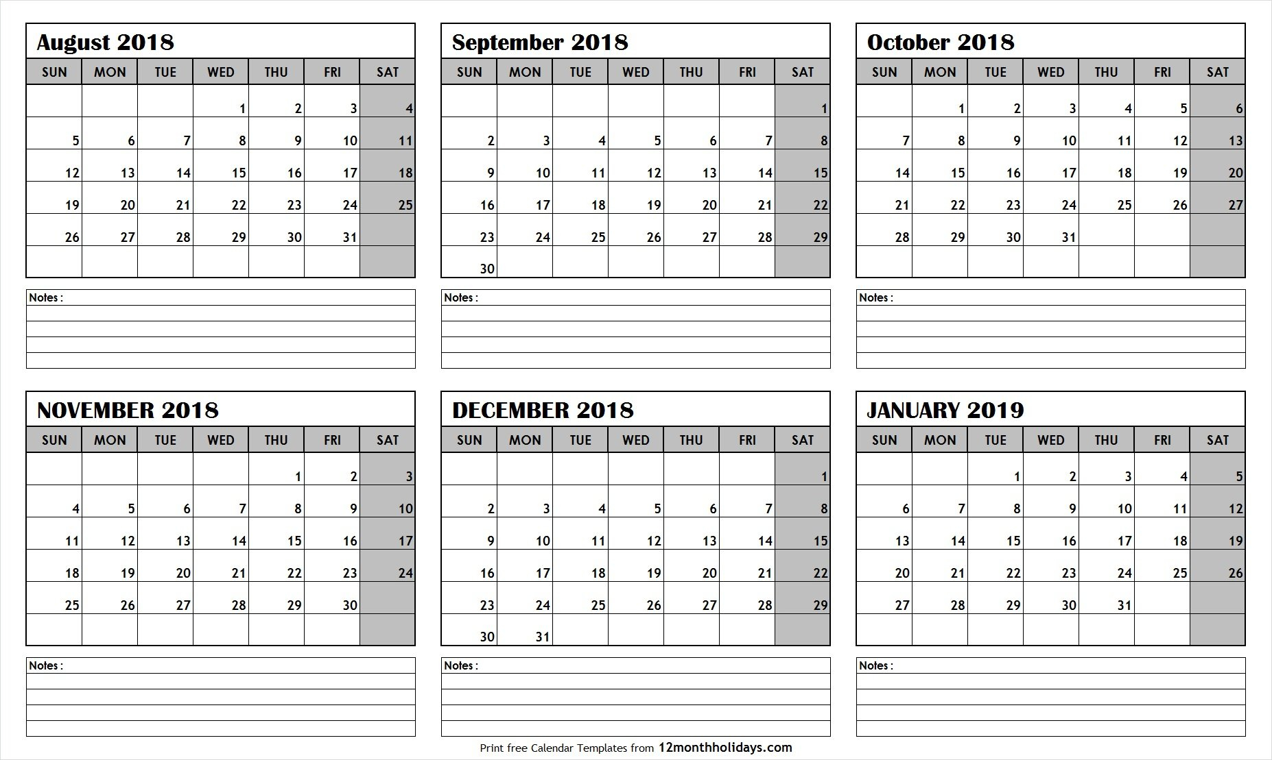 Printable Blank Six Month 6 Month Calendar August January 2019 Template 6 Month Calendar 2019