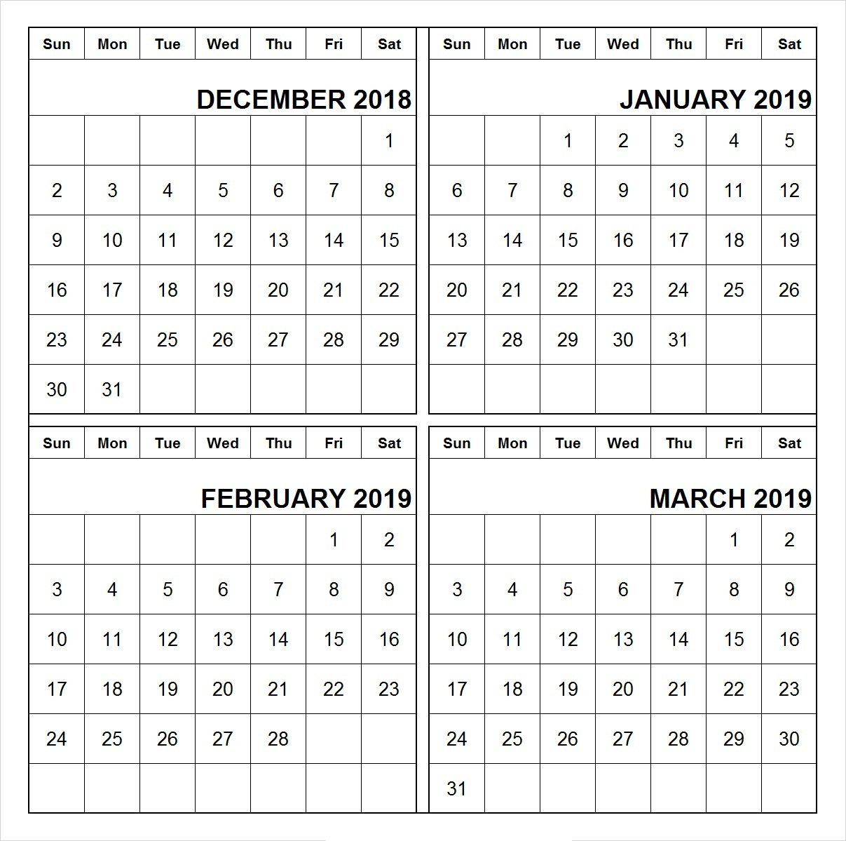 Printable Calendar 2018 January February March | Printable Calendar 2019 Calendar 2019 January February March