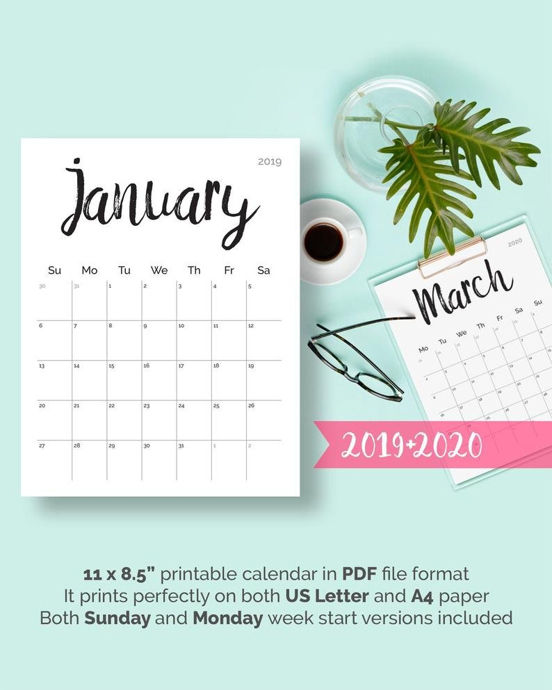 Printable Calendar 2019 2020 2018 Desk Calendar Pdf Download | Etsy Barbara B Mann Calendar 2019