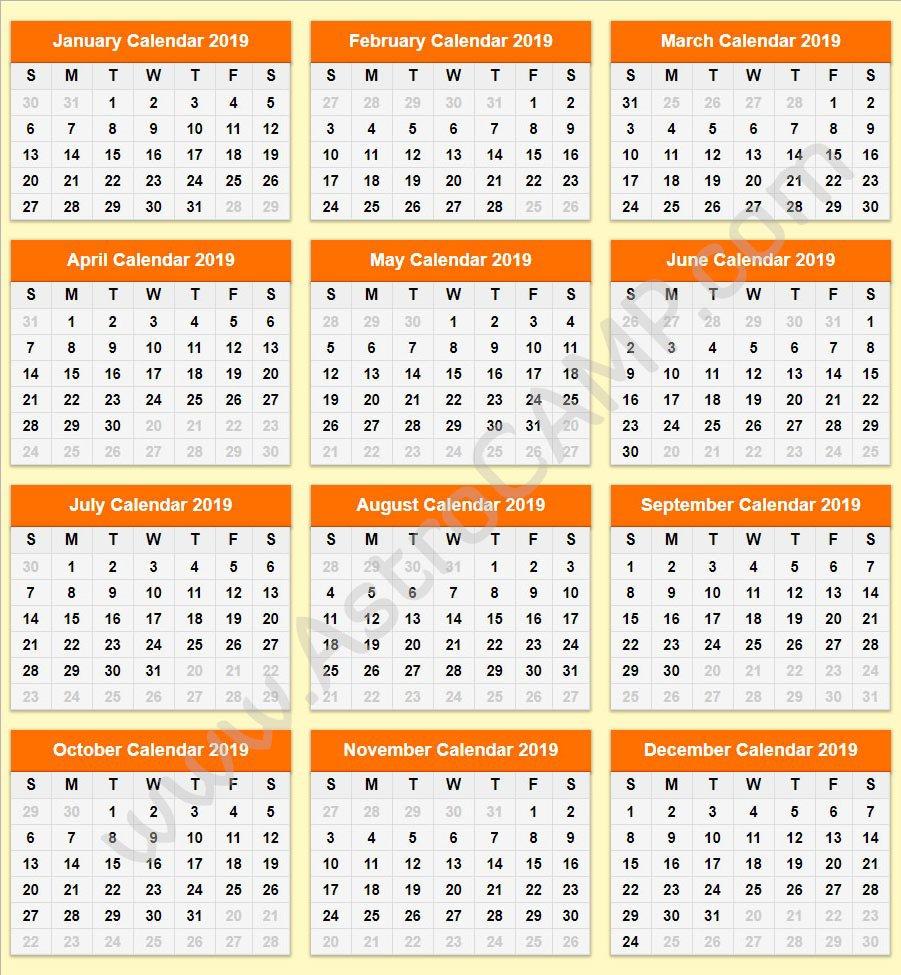 Printable Calendar 2019: Download Free Printable Calendar Calendar 2019 Download