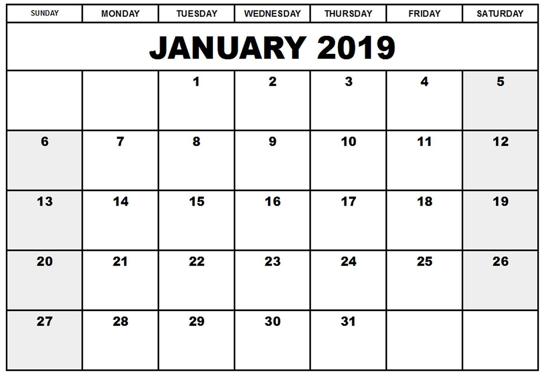 Printable Calendar 2019 January | Printable Calendar 2019 Calendar 2019 January Printable