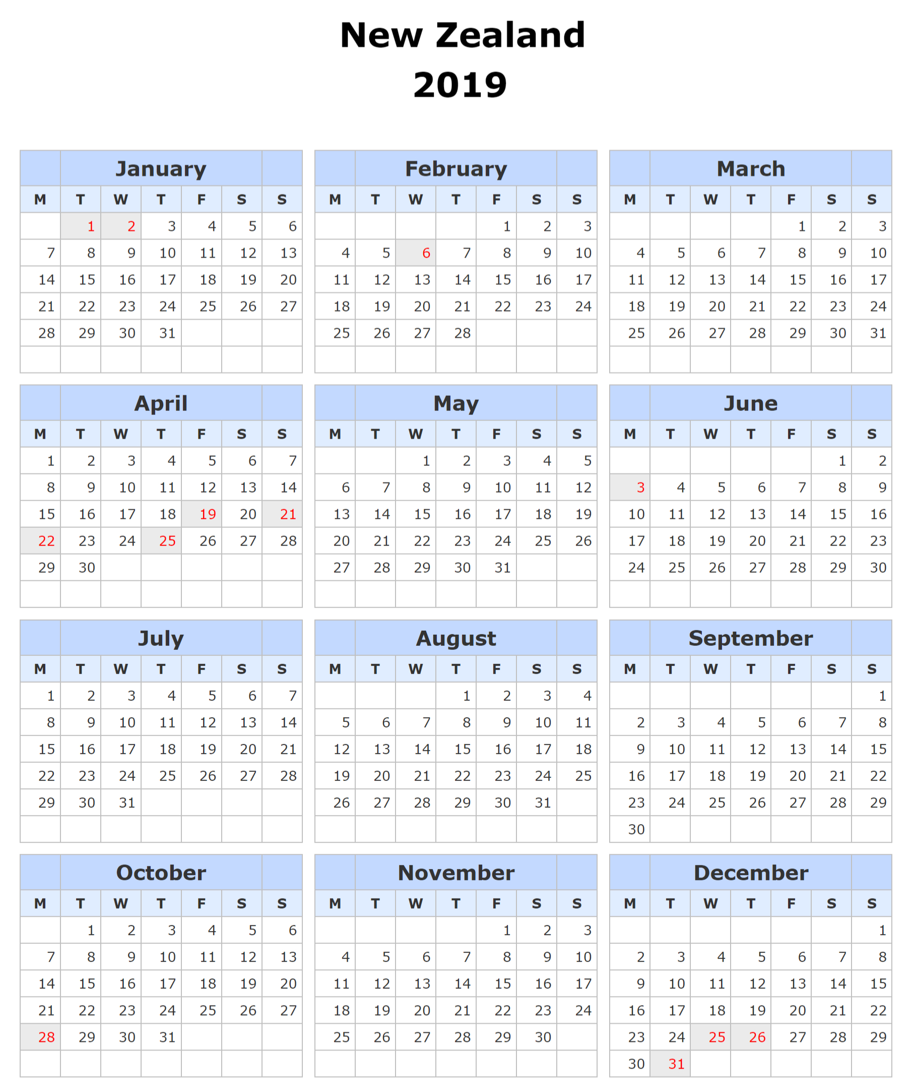 Printable Calendar 2019 Nz – Free Calendar Templates & Worksheets Calendar 2019 Nz