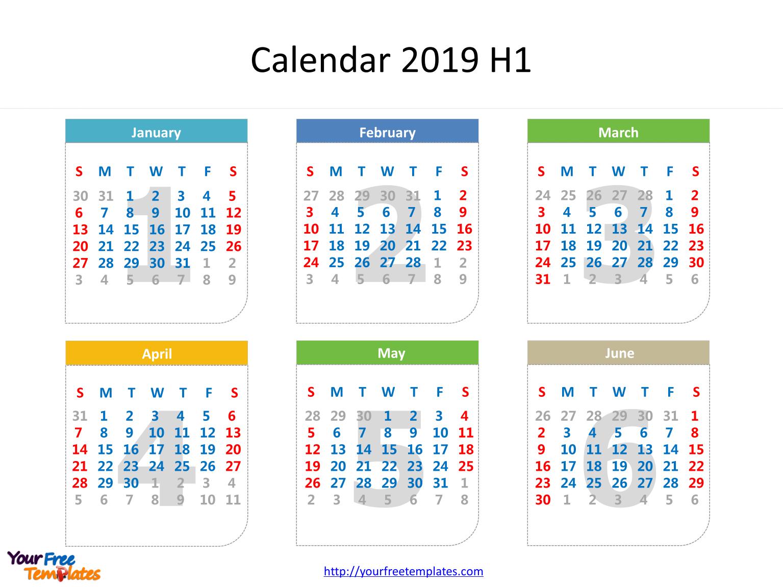 Printable Calendar 2019 Template - Free Powerpoint Templates Calendar 2019 6 Months