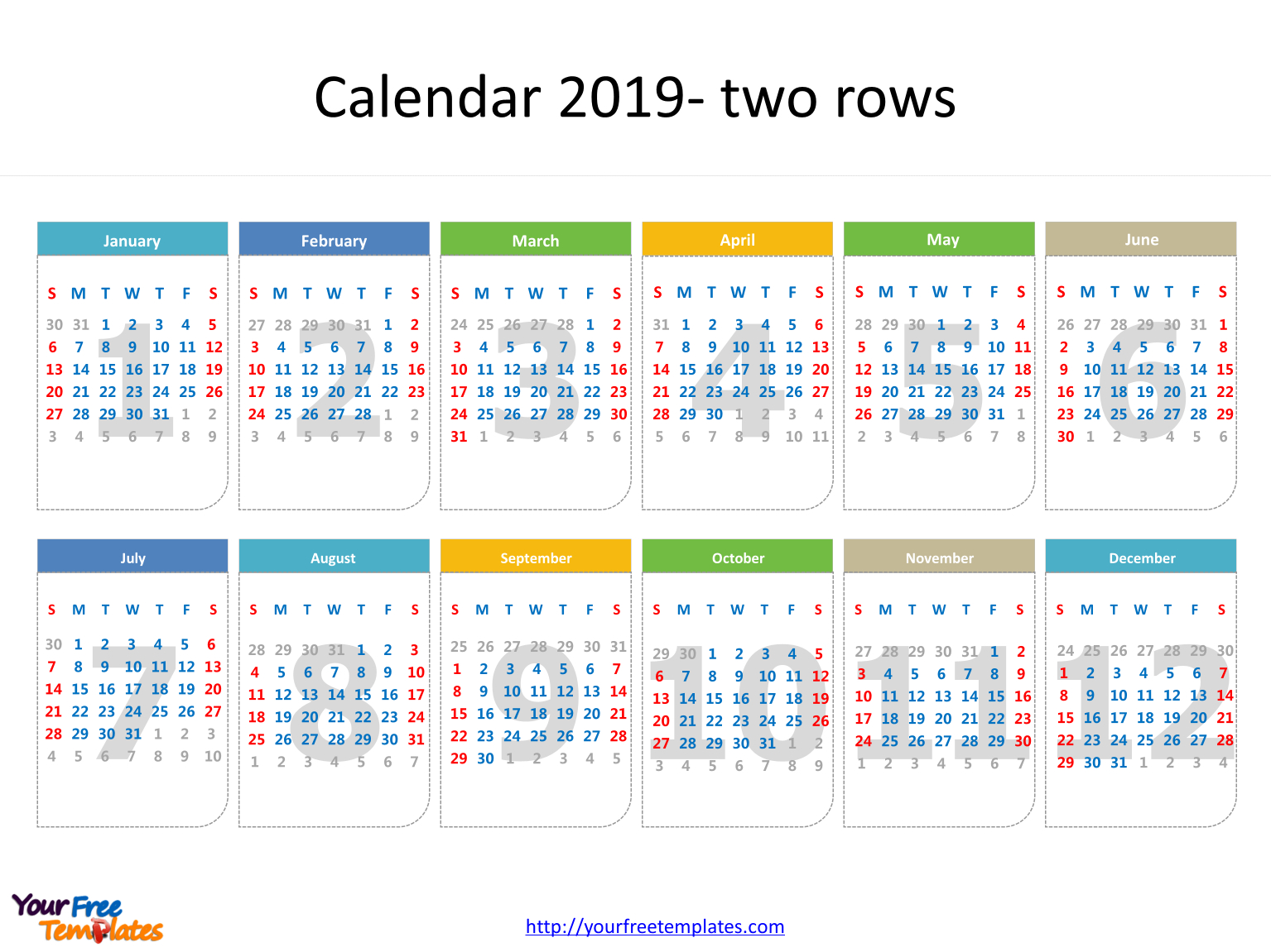 Printable Calendar 2019 Template - Free Powerpoint Templates Calendar 2019 Template Powerpoint