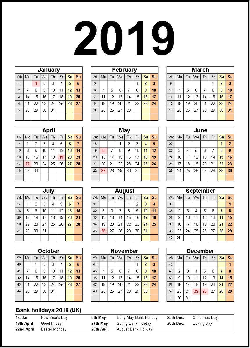 Printable Calendar 2019 United States Holidays | Monthly Calendar Calendar 2019 United States