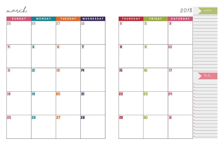 Printable Calendar Notebook 2018 | Printable Calendar 2019 2 Page Calendar 2019