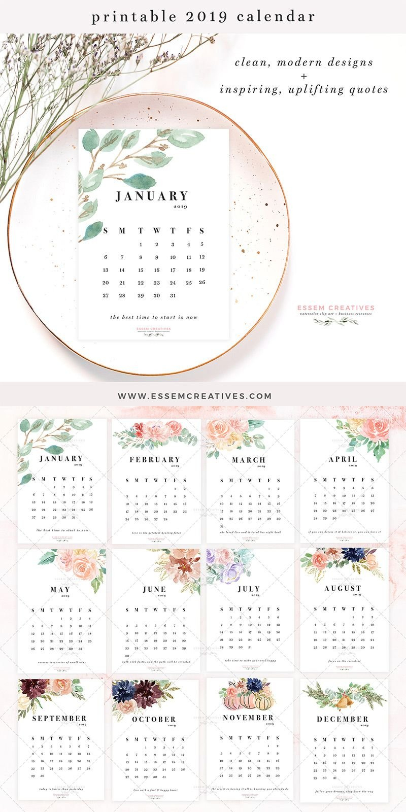 Printable Floral Watercolor Calendar 2019, 5X7 Inch Desk Wall 5 X 7 2019 Calendar