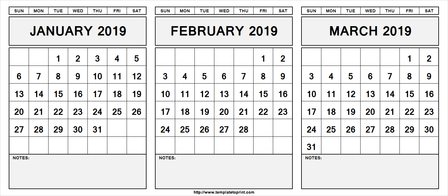 Printable-January-February-March-2019-Calendar-With-Notes » Template Calendar 2019 January February March