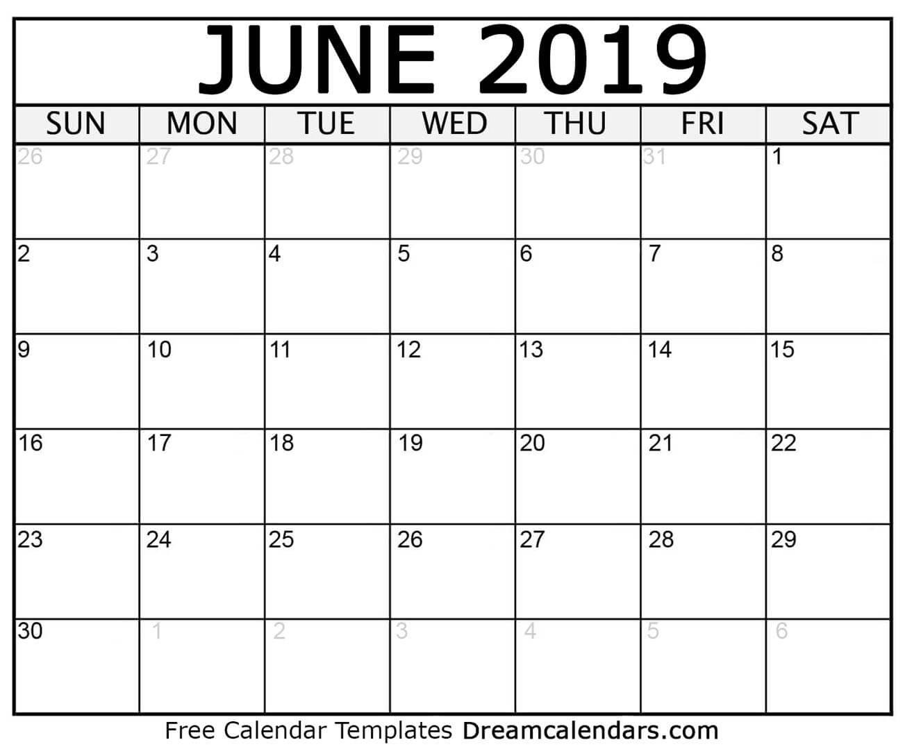 Printable June 2019 Calendar June 4 2019 Calendar
