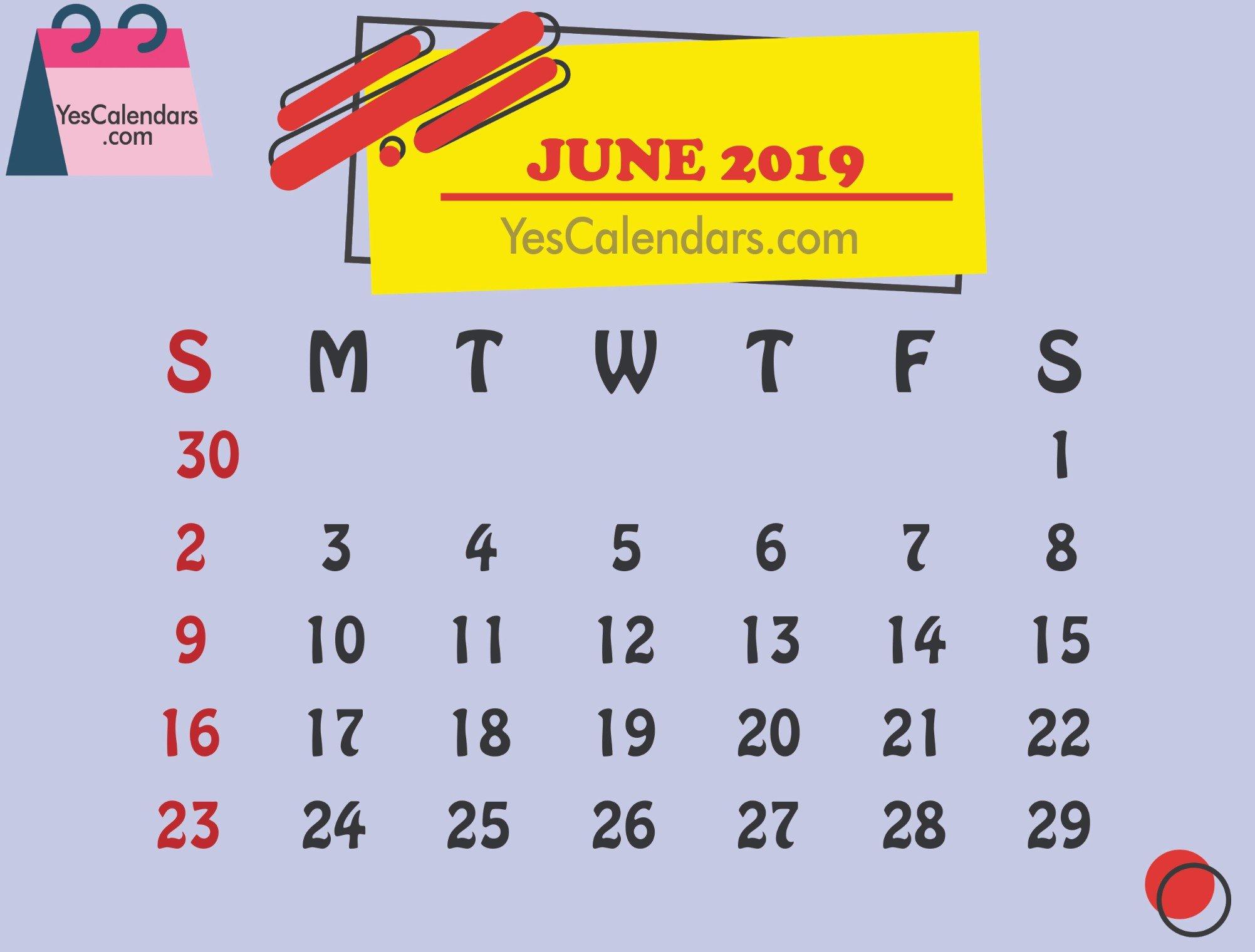 Printable June 2019 Calendar Template Holidays - Yes Calendars June 2 2019 Calendar