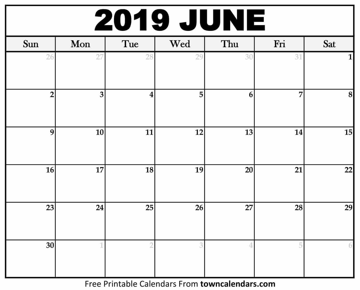 Printable June 2019 Calendar - Towncalendars Calendar Of 2019 June