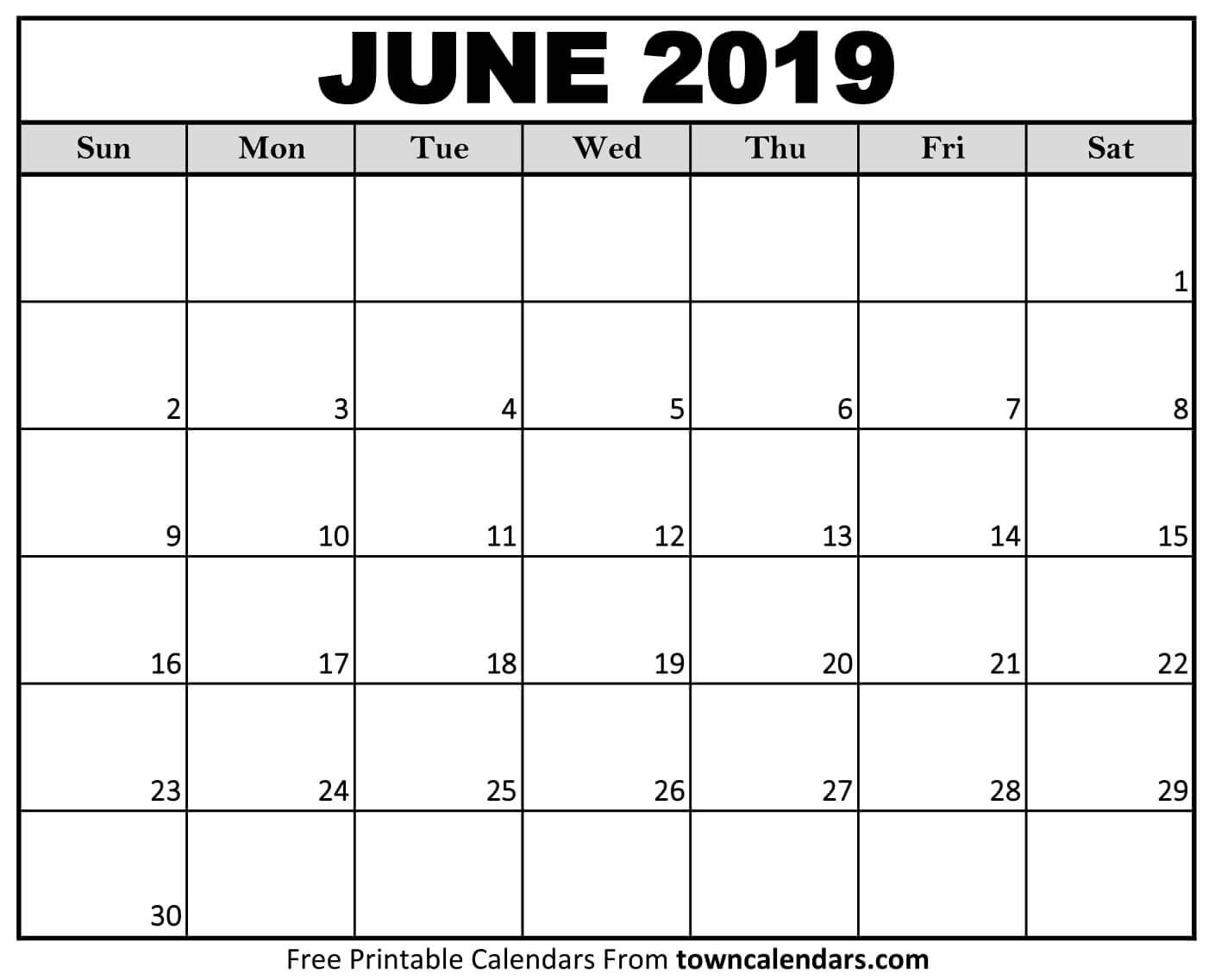 Printable June 2019 Calendar - Towncalendars June 2 2019 Calendar