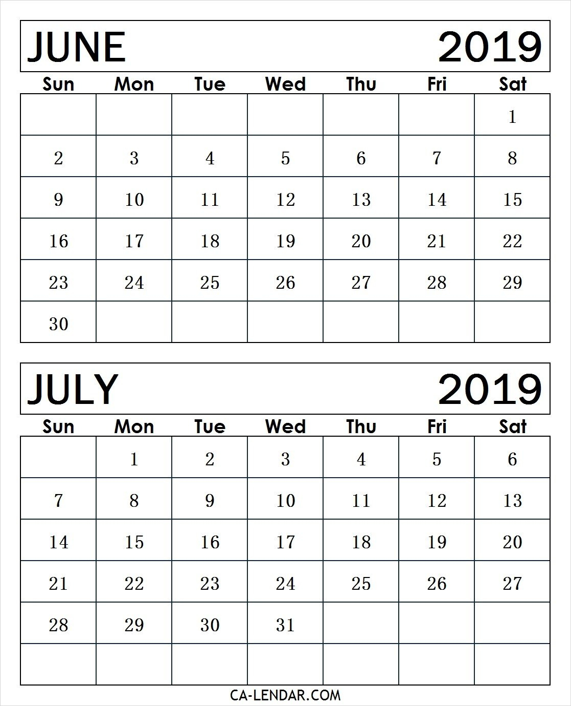 Printable June And July 2019 Calendar Monthly Templates - Calendar Calendar 2019 June July