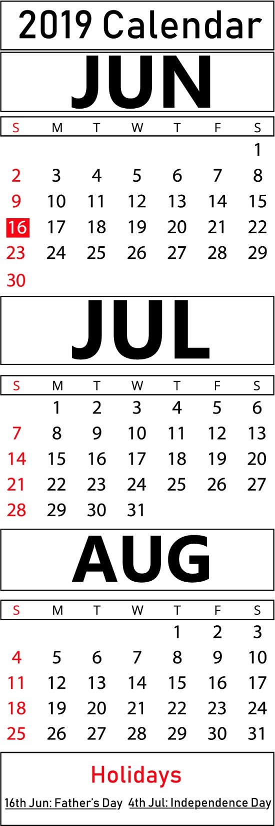 Printable June & July & August 2019 Calendar Templates | Printable June 7 2019 Calendar