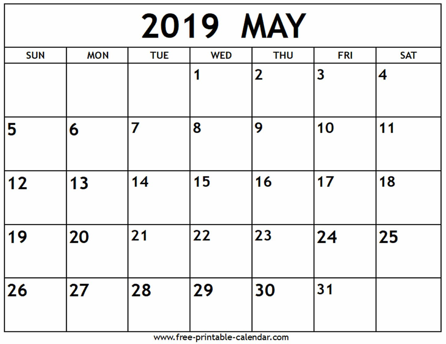 Printable May 2019 Calendar Free (4) | Download 2019 Calendar May 4 2019 Calendar
