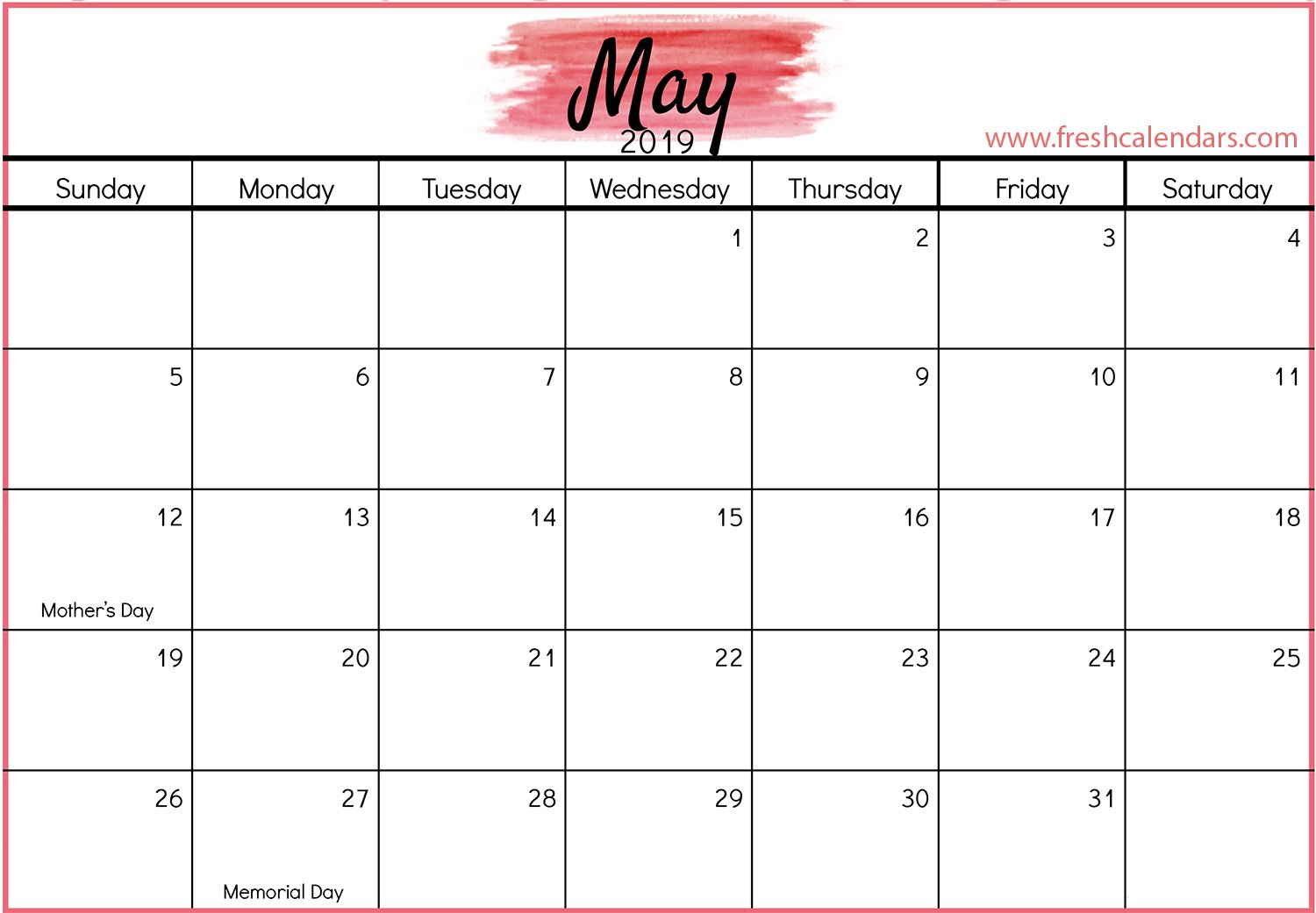 Printable May 2019 Calendar Free (7) | Download 2019 Calendar May 7 2019 Calendar