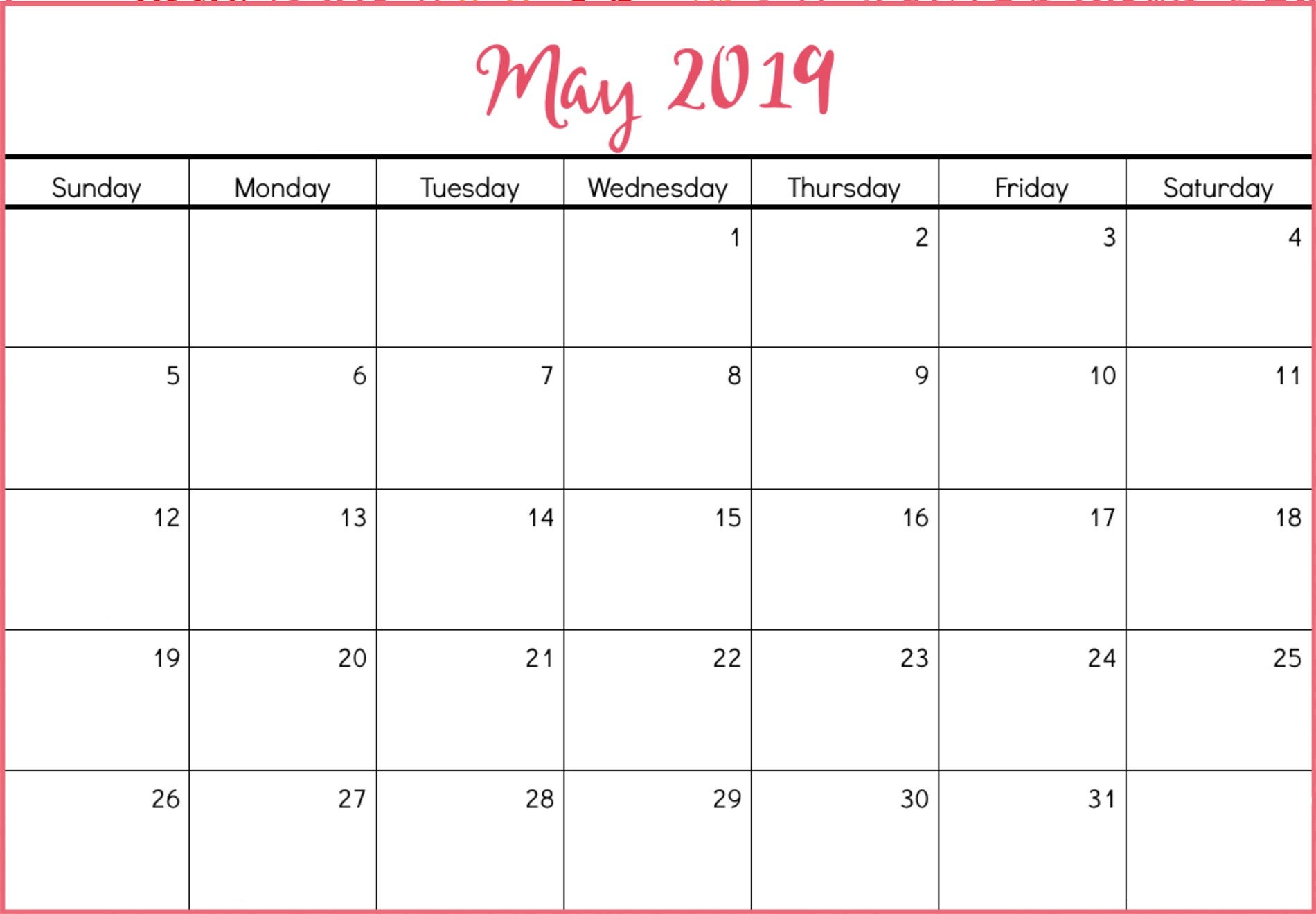 Printable May 2019 Calendar Free (8) | Download 2019 Calendar May 8 2019 Calendar
