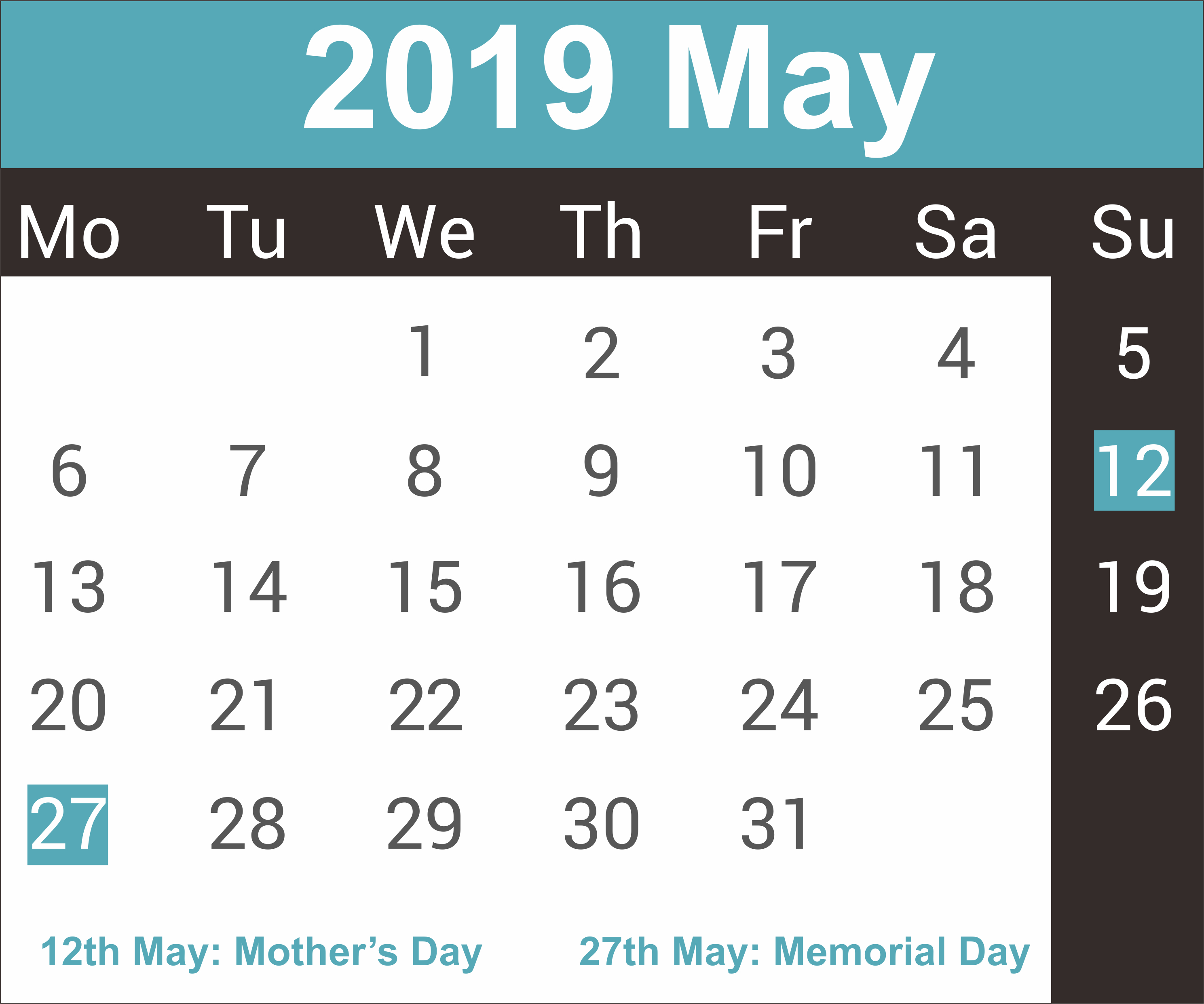 Printable May 2019 Calendar - Free Printable Calendar, Templates And Calendar 2019 Memorial Day