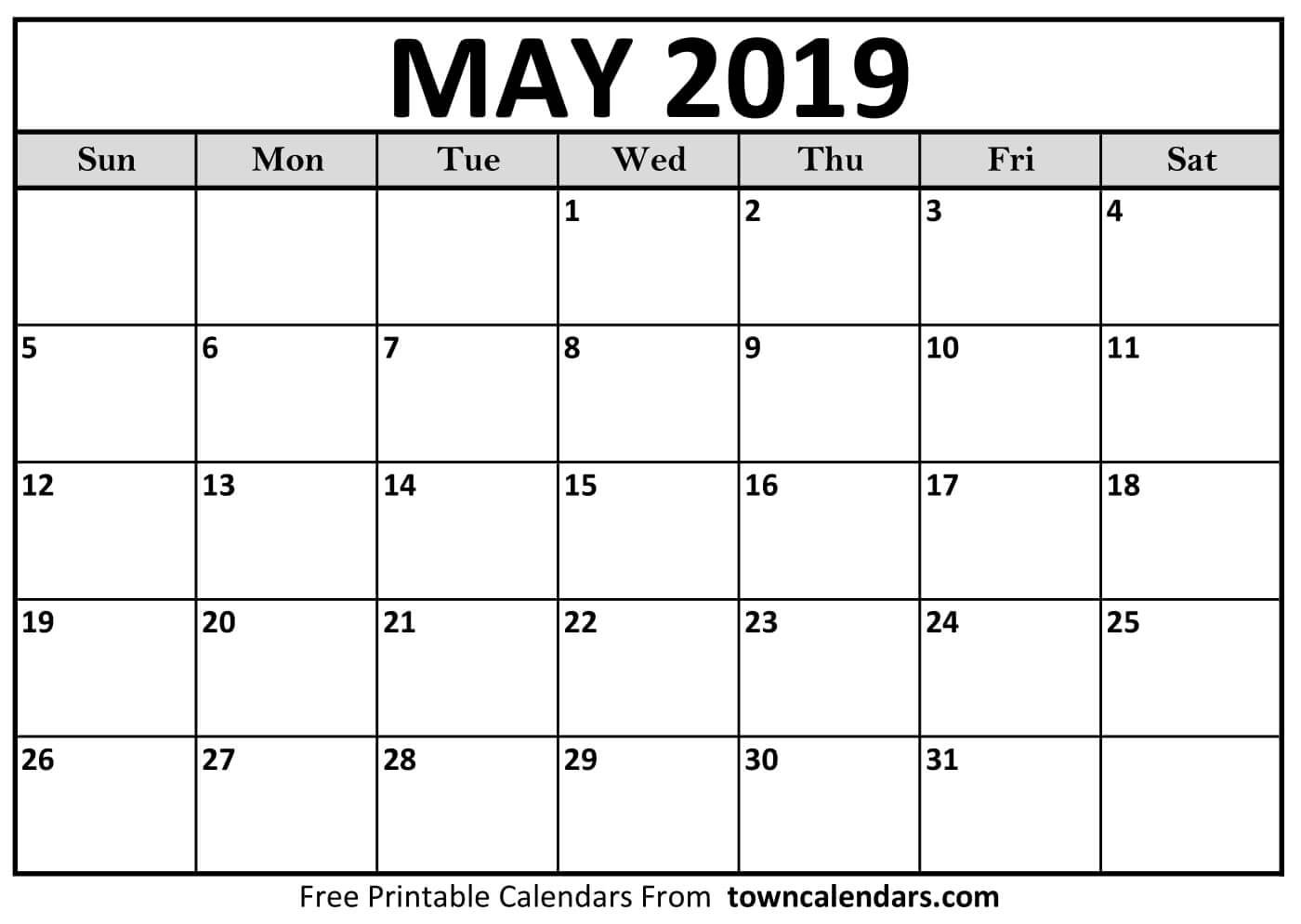 Printable May 2019 Calendar - Towncalendars May 4 2019 Calendar
