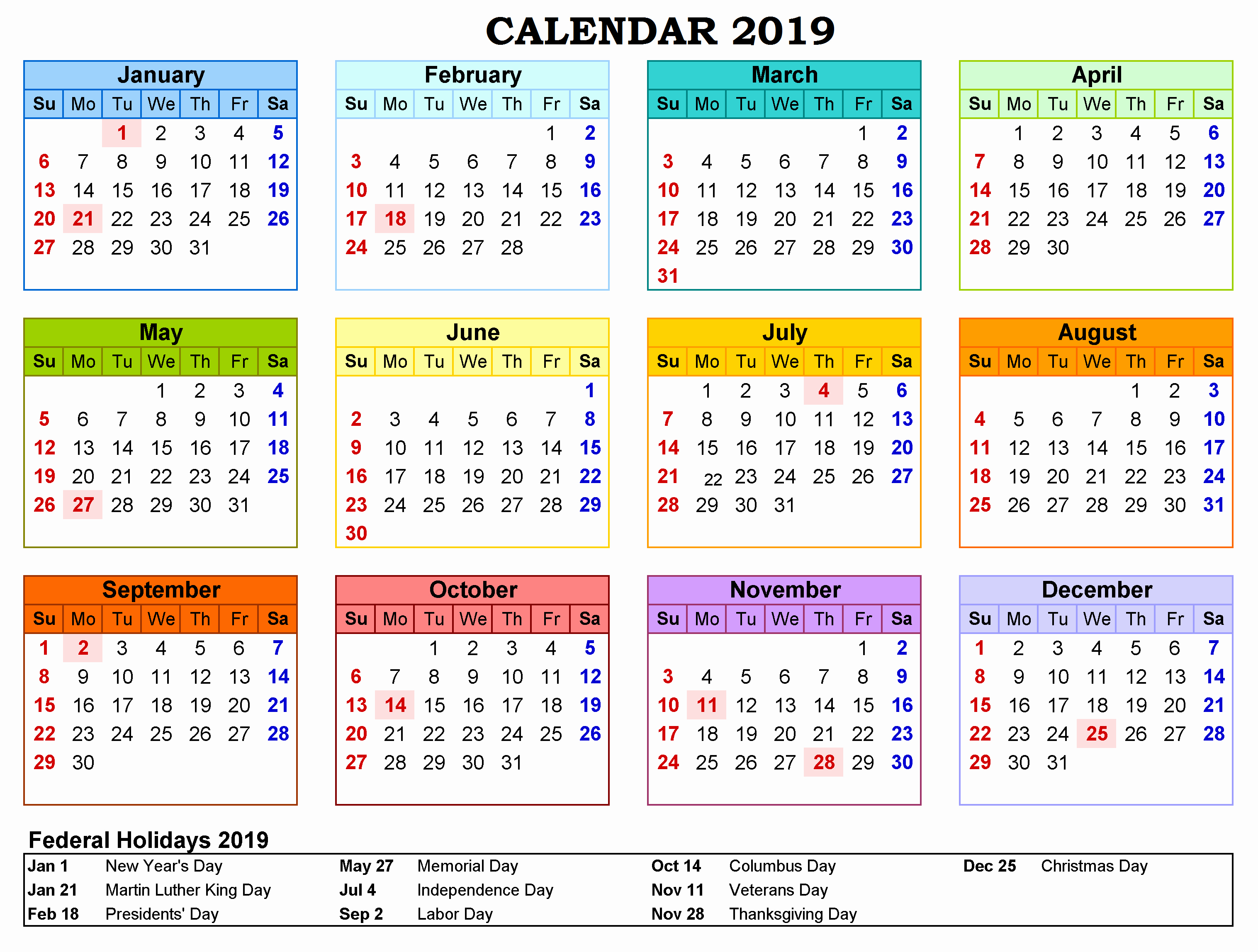 Printable Monthly Calendar 2019 With Holidays Printable Calendar Calendar 2019 United States
