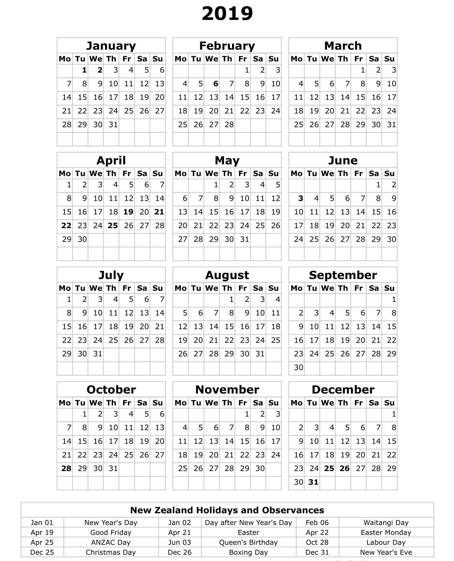 Printable Yearly Calendar 2019 Nz – Free Calendar Templates Calendar 2019 Nz