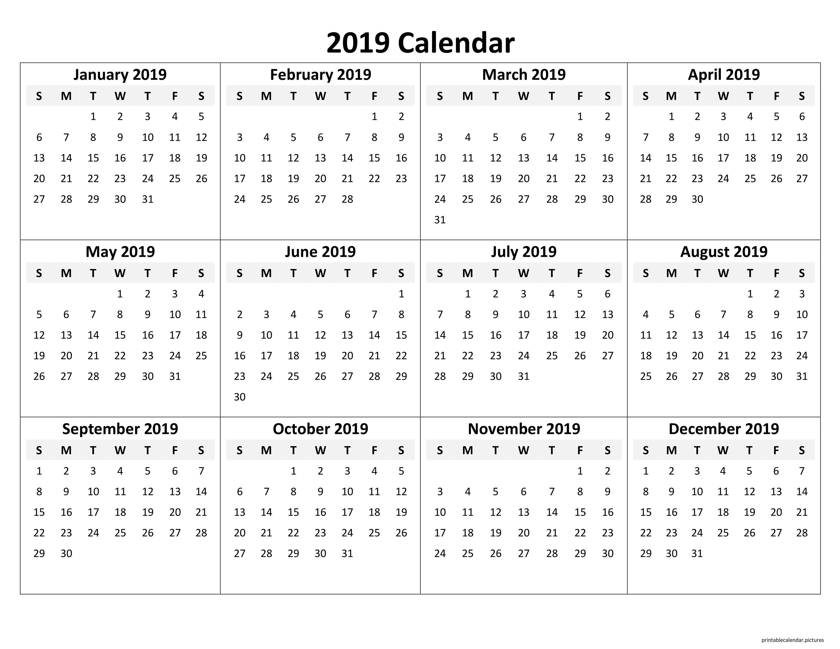 Printable Yearly Calendar 2019 | Printable Calendar 2019 | Blank Calendar 2019 Year Printable