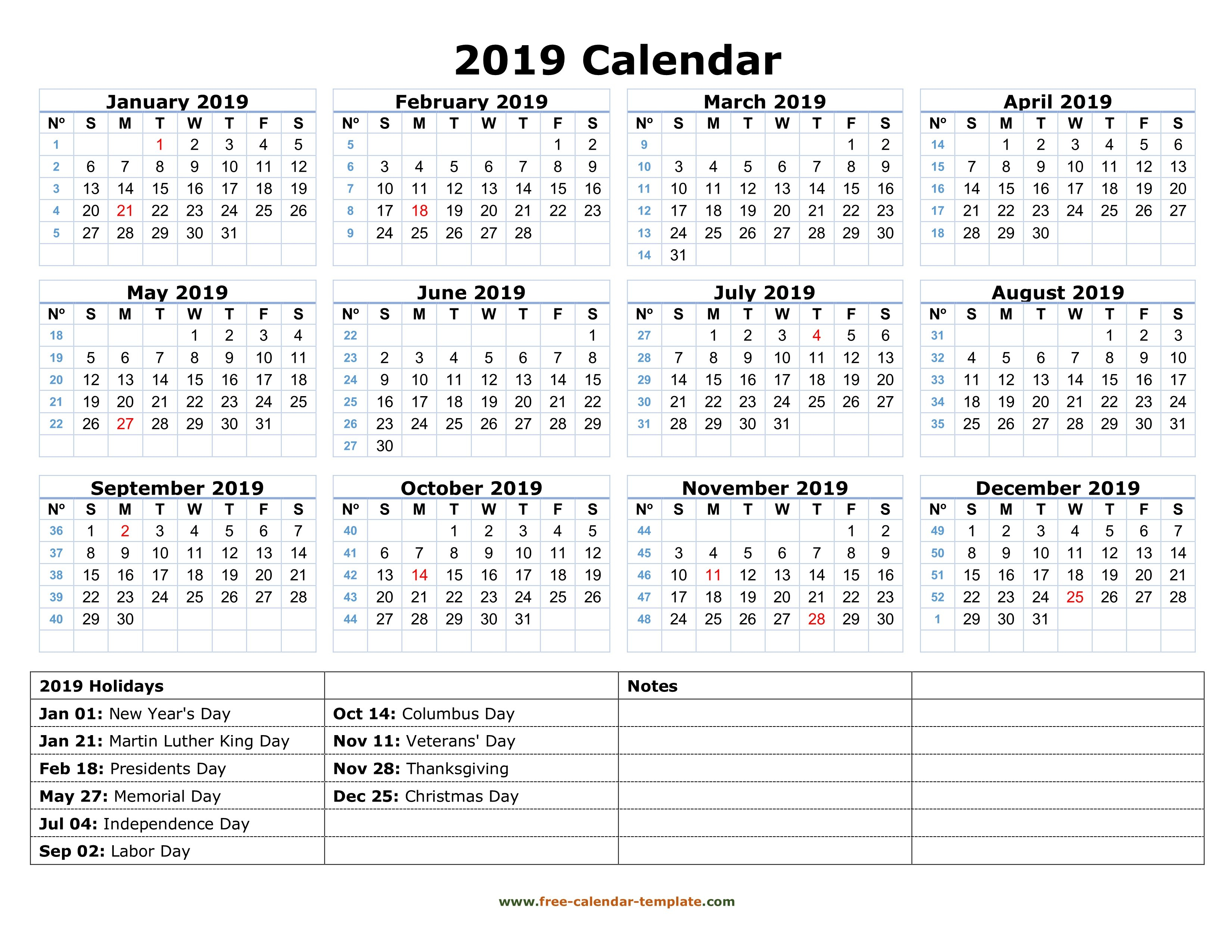 Printable Yearly Calendar 2019 With Us Holidays | Free-Calendar Calendar 2019 Year Printable