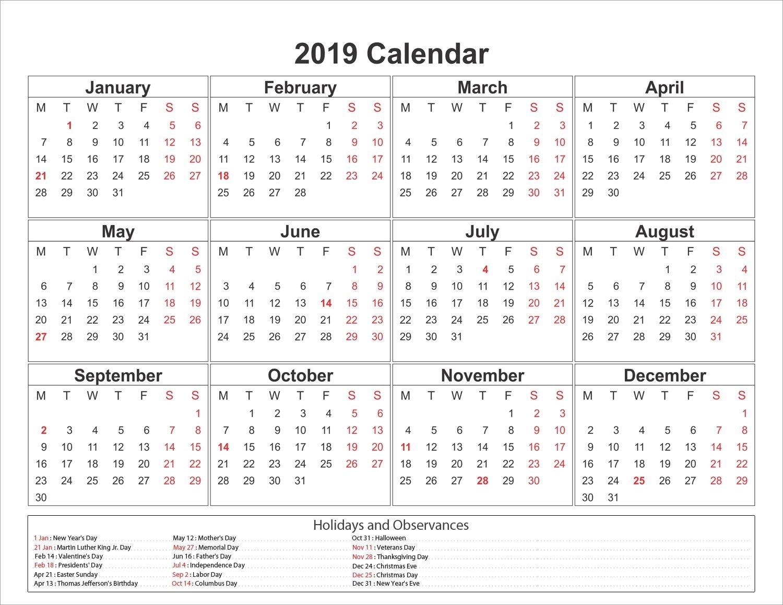Printable Yearly Printable 2019 Calendar Pdf Template Calendar 2019 Template Pdf