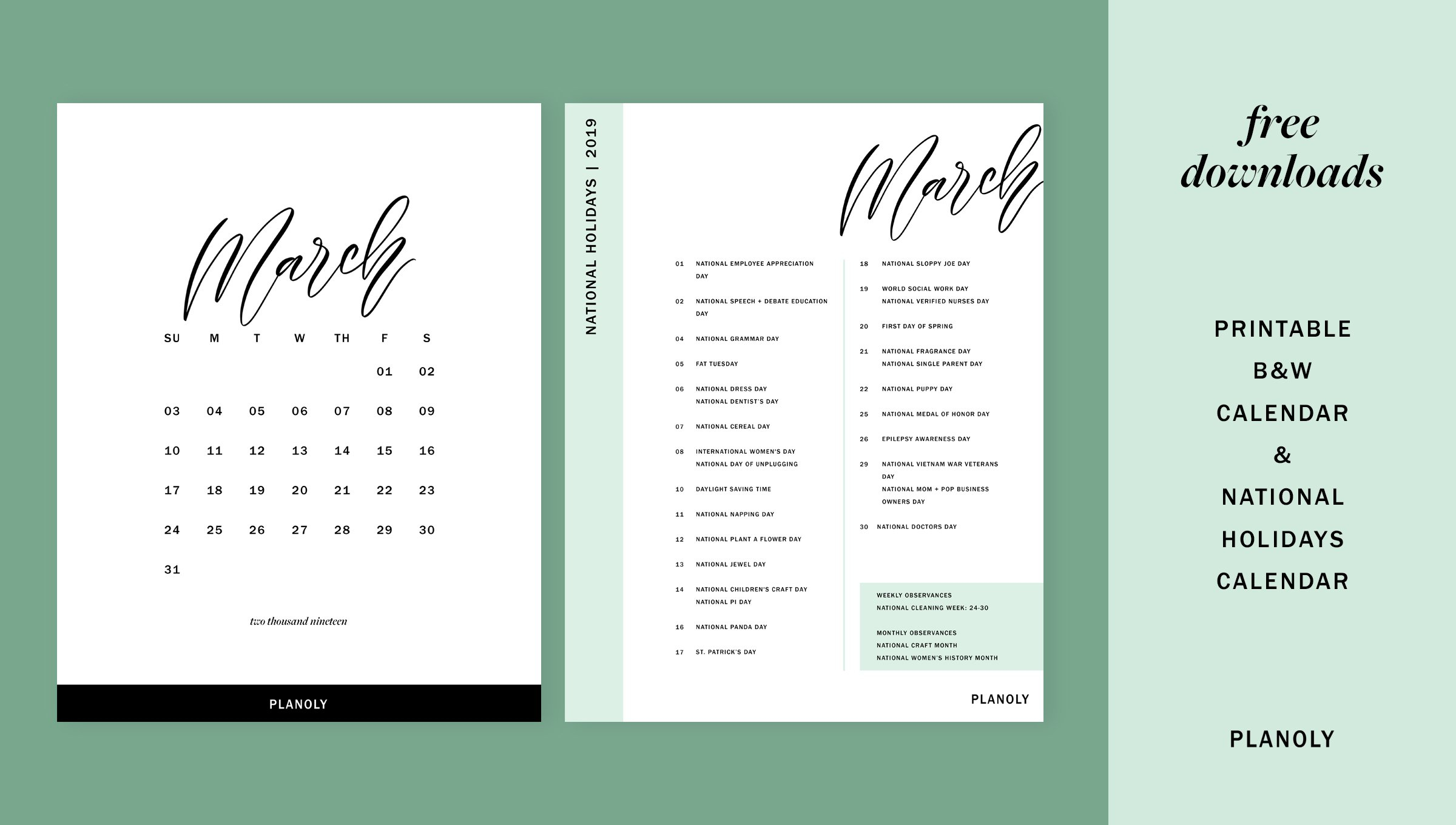 Q1 2019 Content Calendars - Planoly Calendar Q1 2019
