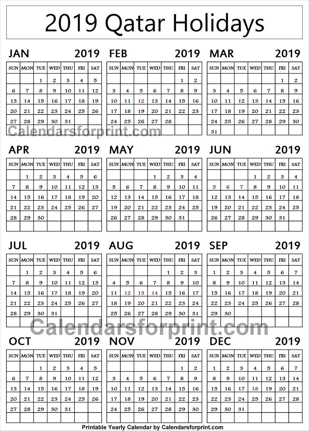 Qatar 2019 Calendar With Holidays Calendar | 2019 Qatar Calendar Calendar 2019 Qatar