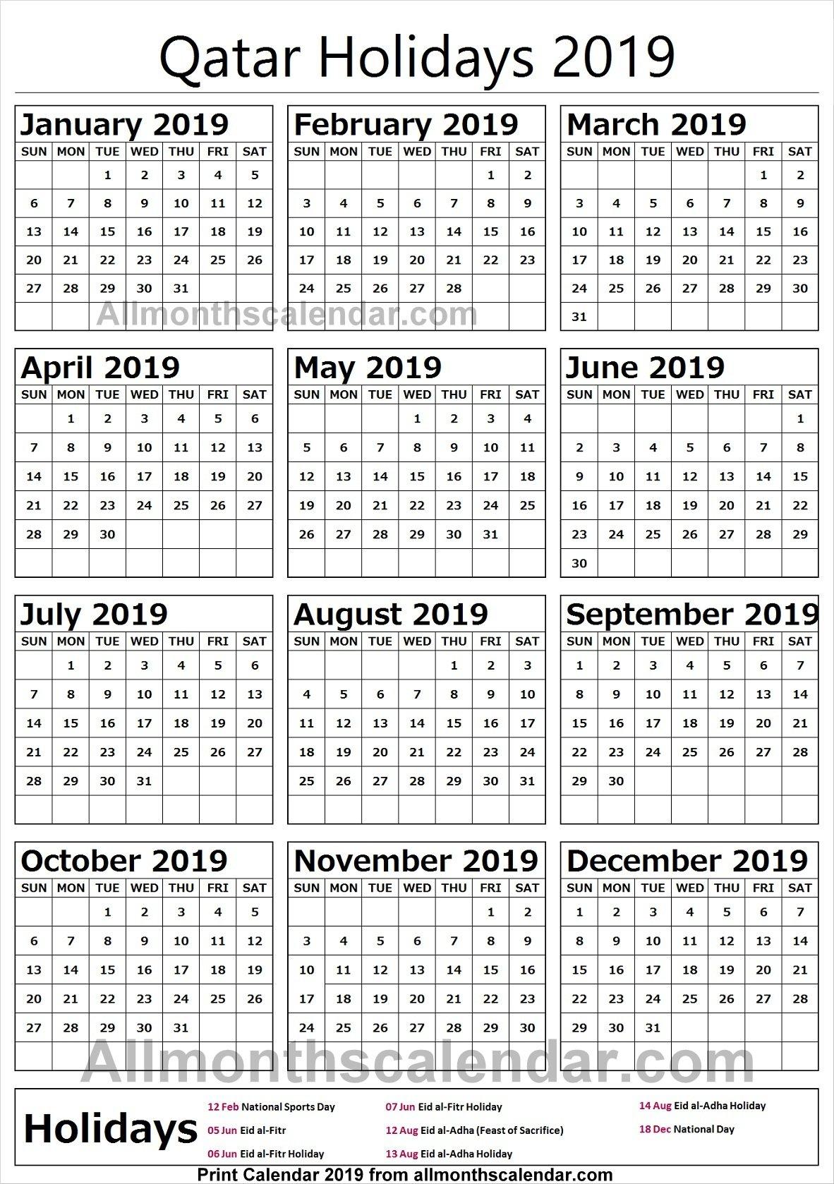 Qatar Holiday List 2019 Calendar | 2019 Qatar Calendar Templates Calendar 2019 Qatar