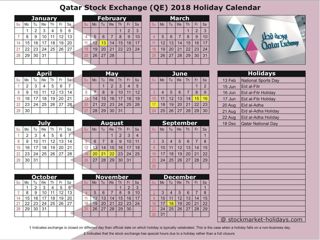Qatar Stock Exchange 2018 / 2019 Holidays : Qe Holidays 2018 / 2019 Calendar 2019 Qatar